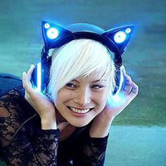 Buy Censi Bluetooth Cat Ear Headphones Over Noise Canceling Wireless with Mic. at online store Hot Topic, Cat Headphones, Light Up Headphones, Wireless Headphones, Bluetooth, Blue Cats, Gifts For Teens, Tech Accessories, Headset