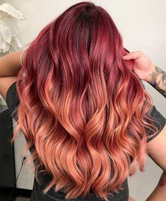Rose Gold Short Hair, Copper Rose Gold Hair, Gold Blonde Hair, Rose Gold Hair Dye, Red Balayage Hair, Caramel Blonde Hair, Rose Gold Balayage, Red Ombre Hair, Peach Hair