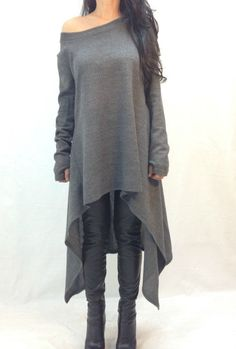 Grey Asymmetrical Sweater Top Long Sleeve Sweater dress Knitwear cotton dress