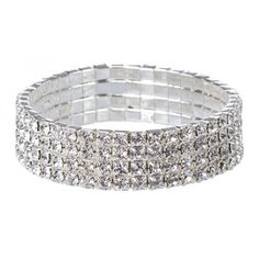 Diamante Stretch Bracelet (€6,73) ❤ liked on Polyvore featuring jewelry, bracelets, accessories, silver jewelry, stretch jewelry, silver jewellery, diamante jewelry and diamante jewellery