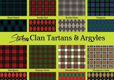 I needed some authentic looking Scottish tartan and plaid patterns for a project, and that led to this collection of tartans and coordinating argyle designs. I don't promise that these are accurate. Scottish Clan Tartans, Scottish Clans, Free Photoshop Patterns, Tartan Pattern, Historical Maps, Photoshop Elements, Needle And Thread, Free Knitting, Free Pattern