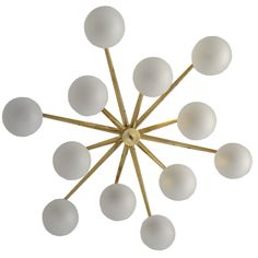 Angelo Lelli's Italian Chandelier by Arredoluce  ITALY  circa 1950  Model : STELLA  Italy1950sItalian Chandelier by Angelo Lelli for ArredoluceTwelve Frosted Glass Globes Connected to Twelve Bronze Arms