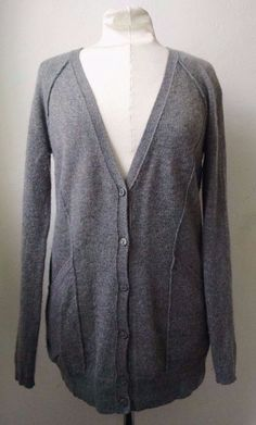 Max Studio 100% Cashmere Cardigan Sweater M Heathered Gray Long #MaxStudio #Cardigan #Casual