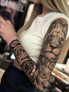 Full Arm Sleeve Tattoo, Arm Sleeve Tattoos For Women, Unique Half Sleeve Tattoos, Feminine Tattoo Sleeves, Lion Tattoo Sleeves, Best Sleeve Tattoos, Feminine Tattoos, Tattoo Sleeve Designs, Women Sleeve