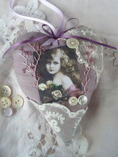 Crazy patchwork lavender hanging heart