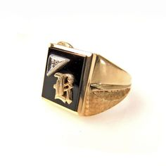 Estate 10k Yellow Gold Black Onyx Diamond Mens Ring Initial B #vbantiquejewelry