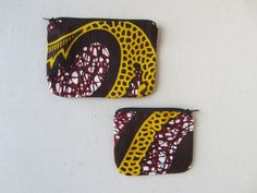 Assortiment cadeaux en wax à motif africain prune et jaune