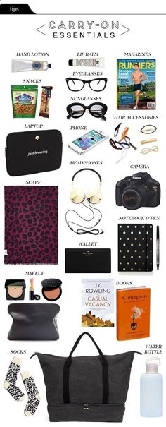 The Vault Files: Carry-on essentials. Except you'd have to buy a water bottle in. The Vault Files: Carry-on essentials. Except you'd have to buy a w Carry On Packing, Packing Hacks, Packing Tips For Travel, New Travel, Time Travel, Travel Style, Travel Hacks, Packing Lists, Travel Fashion