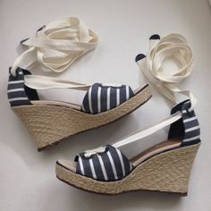 """Sperry Top Sider Wedge Blue and white striped nautical wedge sandal.  3.75"""" wedge. New without tags/box ✨Bundle for a 20% discount✨ Sperry Top-Sider Shoes Wedges"""