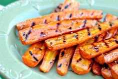 Balsamic vinegar and honey glazed grilled carrots.