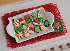 Miniature Christmas Sugar Cookies With Red by LittleThingsByAnna
