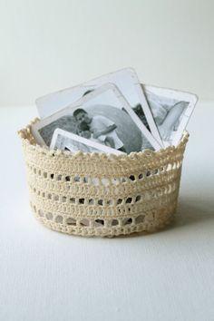 Crochet Basket Cream Shabby Chic Home Decore by creativecarmelina, $25.00