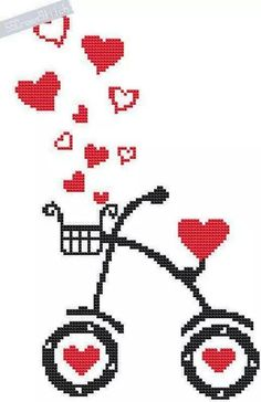 Counted Cross Stitch Pattern PDF Love Bike, You can produce very unique habits for materials with cross stitch. Cross stitch types may almost amaze you. Cross stitch newcomers can make the types they desire without difficulty. Embroidery Thread, Cross Stitch Embroidery, Embroidery Patterns, Cross Stitch Heart, Counted Cross Stitch Patterns, Pattern Pictures, Etsy, Cross Stitching, Pixel Art