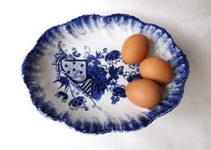 Victorian 1897 Flow Blue Fruit Bowl / Antique Serving Dish from Tunstall, Staffordshire / Flo Blue Spongeware / Vintage Kitchen Decor by CuriosAnCollectibles on Etsy