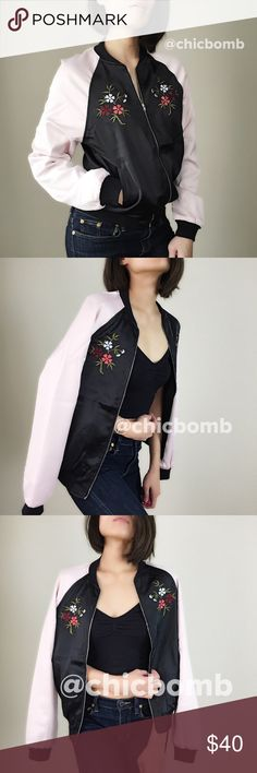 """Silk-satin bomber jacket with flora motif. Silk satin like bomber jacket with flora motif. Zip up. Loose fit . Fully lined. 100%polyblend. Size S: bust 40"""", length:23"""". SIze M: bust 41"""", length 23"""". Size L : bust 42"""" . Length 24"""". Celebrity style Gigi hadid Kendall Jenner.. CHICBOMB BOUTIQUE Jackets & Coats Puffers"""