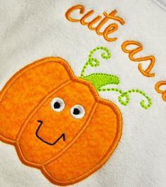 Cute Pumpkin Applique Machine Embroidery Design