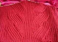 """Узор с косами из английской резинки Автор Вера:""""Узор вяжется по схеме на 57 п. Я использовала этот узор для вязания пуловера из нити пехорка Популярная. На спицы №4 набрала 91 п. и связала для планк…"""