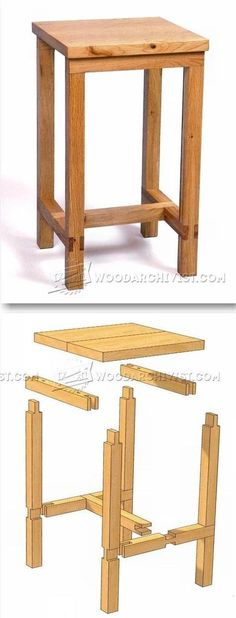 Bench Stool Plans - Furniture Plans and Projects | WoodArchivist.com | Woodworking plans | Pinterest