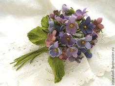 Купить Цветы из кожи . Брошь заколка БУКЕТ ФИАЛОК. - цветы из кожи, кожаные цветы