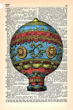 hot air balloon print on dictionary page