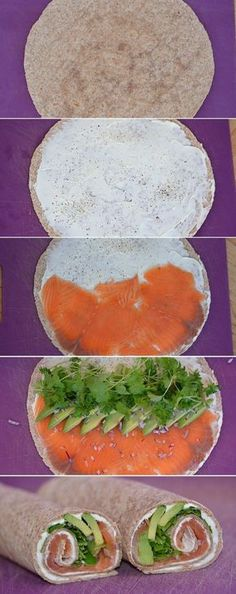 Lovely and incredibly easy wraps with smoked salmon, creamy avocado and lovely spices .- Skønne og utroligt nemme wraps med røget laks, cremet avocado og dejlige krydd… Lovely and incredibly easy wraps with smoked salmon, creamy … - Quick Healthy Breakfast, Healthy Snacks, Healthy Eating, Healthy Recipes, Health Breakfast, Healthy Drinks, Food Inspiration, Love Food, Tapas