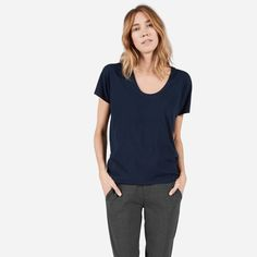 A relaxed U-neck made from the softest cotton heather we could find  100% cotton heather Fabric is a unique all-cotton heather, making it softer and lighter than your typical cotton-poly blend Features a dropped neckline and dolman sleeves Made and milled in Los Angeles Machine wash cold, tumble dry low