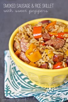 Smoked Sausage & Rice Skillet with Sweet Peppers