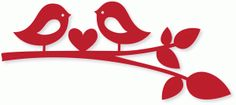 Silhouette Design Store - View Design #74009: lovebirds w/heart on branch