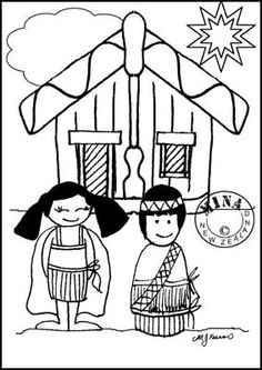 Maori Printables: Kids and Marae Colouring Page