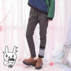 Mori Girl Dress Pants on Mori Girl の森ガール.Mori Casual Cool Vertical Strip Pants Trendy Fashion Pant make you cuter and cuter.