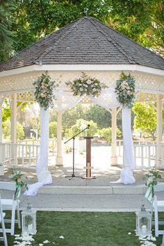 Orange county outdoor summer wedding at the heritage museum ceremony set up with white gazebo and white chiffon decor and greenery florals wedding photo idea for ceremony set up gazebo ideas How to Design a Vintage Styled Wedding ceremony set up Outdoor Wedding Gazebo, Gazebo Wedding Decorations, Decor Wedding, Gazebo Ideas, Wedding Ideas, Wedding Planning, Small Gazebo, White Gazebo, Floral Wedding