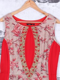 Shop Red cotton fabric kurti online from G3fashion India. Brand - G3, Product code - G3-WKU1150, Price - 5995, Color - Red, Fabric - Cotton,