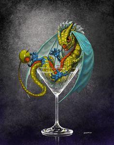 Martini Dragon Print by Stanley Morrison