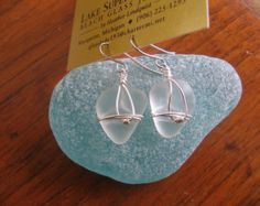 Fresh Aqua Blue Lake Superior Beach Glass Earrings by beachglass46