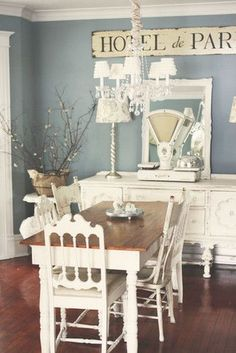 ❤(¯`★´¯)Shabby Chic(¯`★´¯)°❤ …Shabby Chic Paris Blue And White Dining Room.