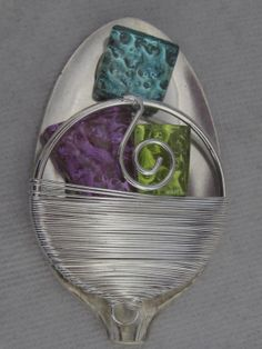 silver spoon brooch with stained glass