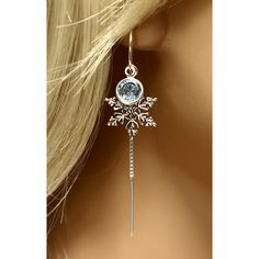 Frozen Snowflake Earrings Sterling Silver Crystal Earrings, Winter... ($32) ❤ liked on Polyvore featuring jewelry, earrings, crystal snowflake earrings, thread earrings, sterling silver threader earrings, disney jewelry and lightweight earrings