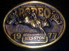 National Finals Rodeo Belt  Buckle 1977 Antiqued Brass Hesston