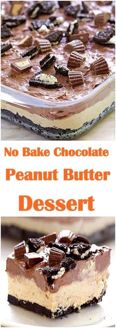Cool and creamy, oreo, peanut butter and chocolate loaded dessert, perfect for summer and anytime you need an easy no-bake dessert. (no bake oreo cake food) Dessert Oreo, Coconut Dessert, Low Carb Dessert, Brownie Desserts, Easy No Bake Desserts, Mini Desserts, Dessert Bars, Delicious Desserts, Easy Summer Desserts