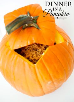 Fun and easy Halloween family dinner idea!  Try dinner in a pumpkin!  Check out the recipe at Capturing-Joy.com