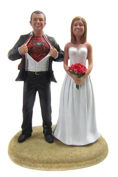 Spiderman Wedding Cake Toppers...is it sad that I half-love this? :) Spidey forever.