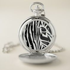 Zebra Stripes VZS2 Pocket Watch - diy cyo customize create your own personalize