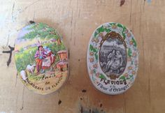 2 Small vintage French candy boxes made of plastic by karmolijntje
