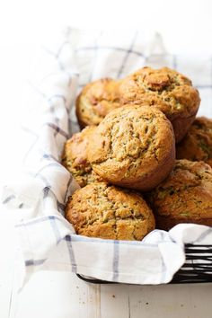 Honey and Olive Oil Zucchini Muffins - simple and delicious, made with whole grains and no refined sugar. 280 calories. | pinchofyum.com#muffins #zucchini #healthy