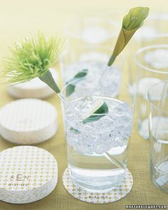 """Flower Swizzle Sticks - Templates for Wedding Decorations: """"Calla Lily"""" and """"Spider Chrysanthemum"""" swizzle sticks are perfect for lime spritzers."""