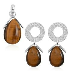 GENUINE TIGERS EYE💎 925-PENDANT/EARRING SET💎 GENUINE SOUTH AFRICAN TIGERS EYE PENDANT AND EARRINGS SET IN PURE 925-STERLING SILVER TCW-6.0 Jewelry