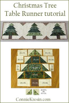 Christmas Tree block tutorial and table runner tutorial could be used as evergreen trees for any time of year. Fast and easy to make #Christmas #quiltblock #quilting #tutorial #quilttutorial #christmascrafts
