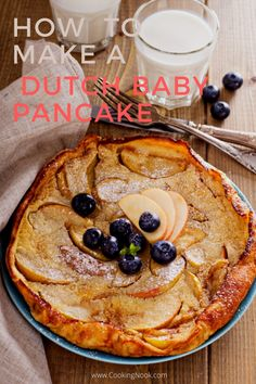 An oven baked Dutch baby pancake recipe. Oven baked pancakes are easy and delicious. This one is a Dutch apple pancake. Oven Baked Pancakes, Baked Apple Pancake, Fruit Pancakes, Crepes And Waffles, Baby Pancakes, Baked Eggs, Breakfast Items, Breakfast Bake, Breakfast Dishes