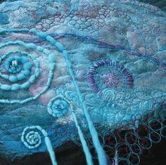 Púrpura turquesa y fusión seda fibra arte