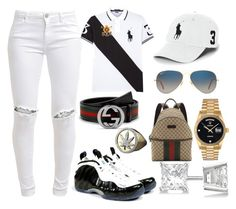 """""""First Time"""" by itsjustmedaddy ❤ liked on Polyvore featuring Polo Ralph Lauren, FiveUnits, Concord, Gucci, Ray-Ban, Rolex and Allurez"""